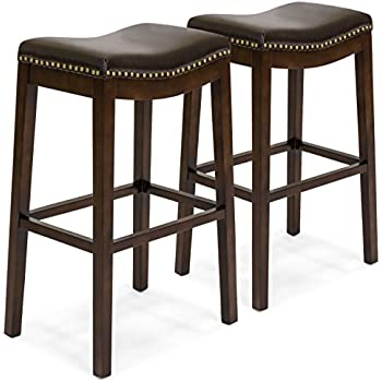 Amazon Com Chantal Backless Brown Leather Counter Stools