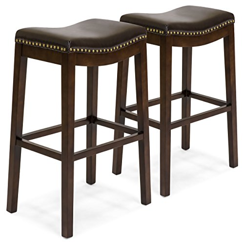 Best Choice Products Set of 2 Backless Faux Leather Upholstered 31 Counter Stools w Brass Nailhead Trim Brown