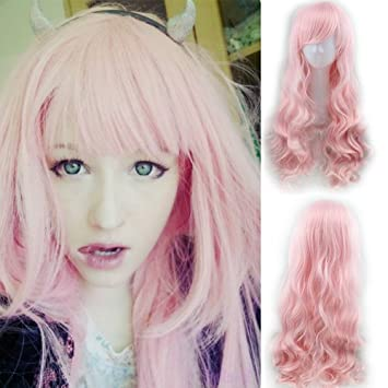 Amazon.com   Blue Bird Long Body Wave Baby Pink Wig Cosplay Hair Synthetic  Long Wavy Curly Wigs With Bangs for Women High Temperature Fiber   Beauty 99bac0113