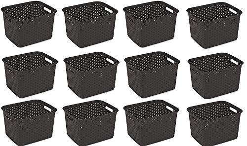 12 Basket Weave - Sterilite 12736P06 Tall Weave Basket, Espresso, (Basket 12-Pack)