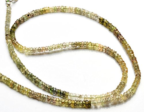 JP_Beads 1 Strand Natural Green Sapphire 3.5MM Facet Rondelle Bead 17