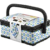 Singer Small Sewing Basket Woven Spool with Sewing Kit Accessories, Cyan/Lime