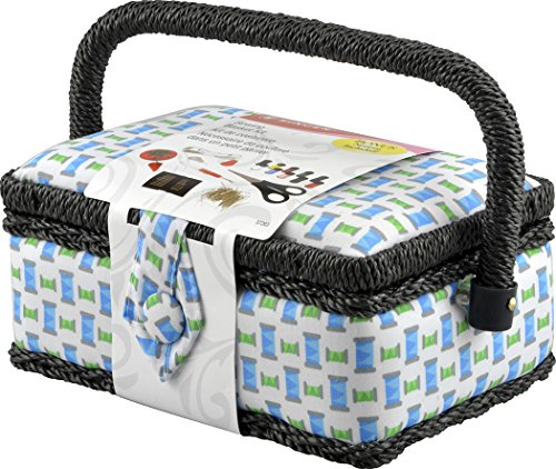 SINGER SEWING CO. Small Sewing Basket Woven Spool with Se...