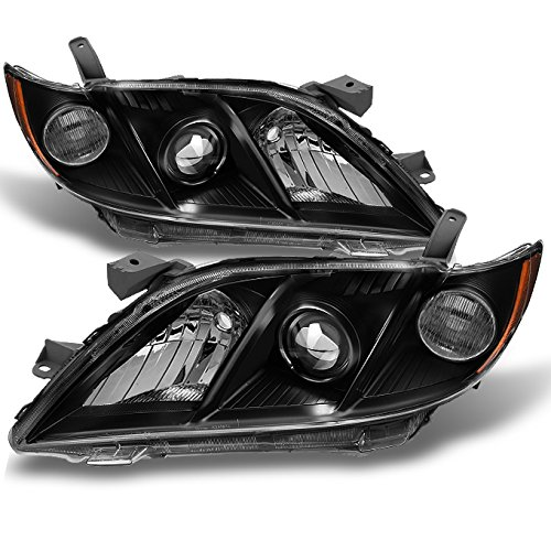 Toyota Camry Right Headlight - For 2007-2009 Toyota Camry Black Bezel Projector Headlights Front Lamps Replacement Left+Right Pair