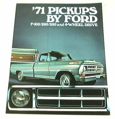 1971 71 FORD PICKUP Truck BROCHURE F100  - 1971 Ford F100 Shopping Results