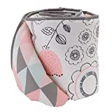 Lolli Living Sketchy Bird Crib Bumper with Reversible Tripod Print. 100% Cotton Baby Crib Liner (Sparrow Collection)