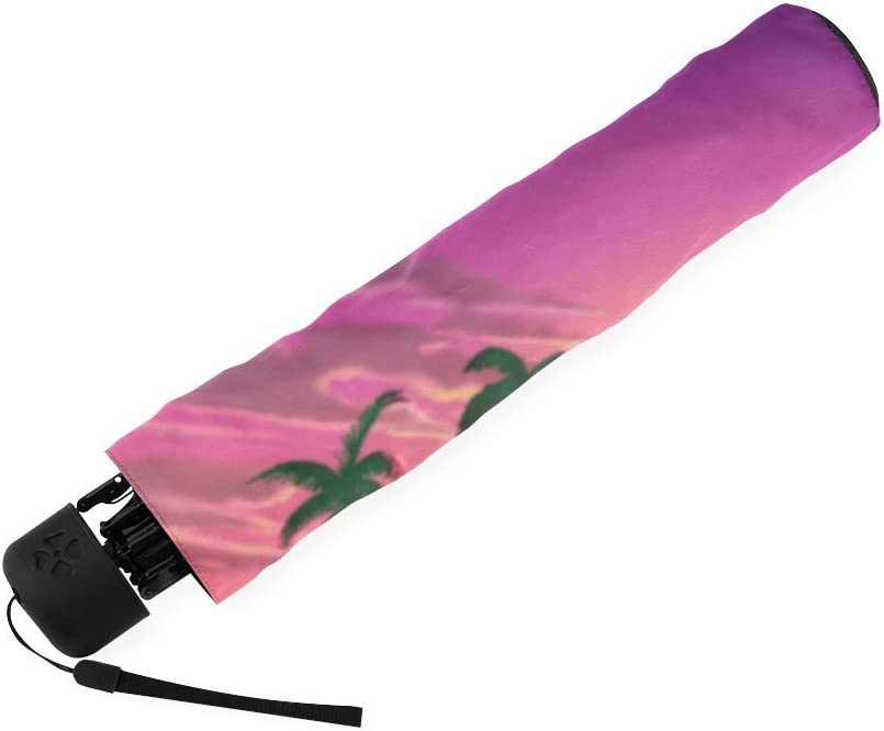 Custom Flamingos Compact Travel Windproof Rainproof Foldable Umbrella