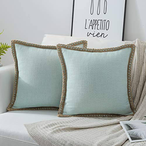 Phantoscope Pack of 2 Farmhouse Burlap Linen Trimmed Tailored Edges Throw Pillow Case Cushion Covers Light Turquoise 22