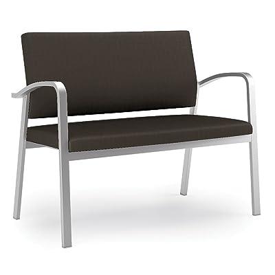 "Newport Solid Fabric Loveseat Dimensions: 43""W x 25""D x 35""H Seat Dimensions: 40""Wx18""Dx18.5""H Coffee Bean Fabric/Silver Frame"