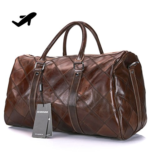 Genuine Leather Travel Duffel Bag Weekender Overnight Carry On Luggage Luxurious Vintage Leather Perfect Fit to Airplane Underseat (Brown)