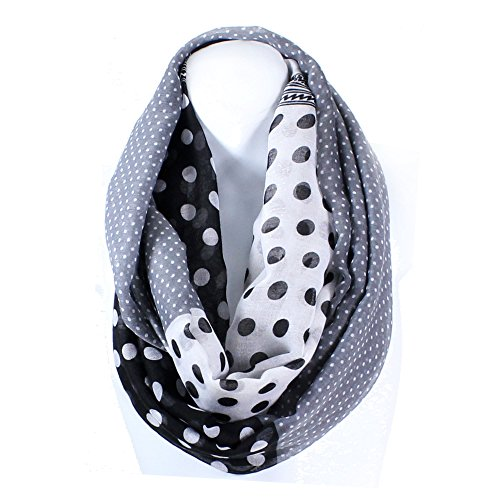 AN Lightweight Polka Dots Print Infinity Circle Scarf Snood Loop (Black)