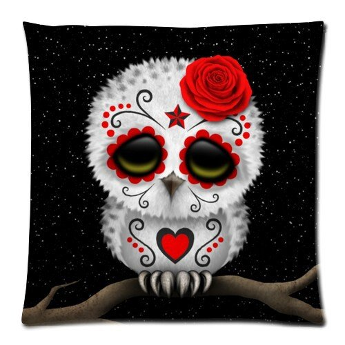Diy-Hot Cute Red Day Of The Dead Sugar Skull Owl Stars Zippered Pillow Case 18X18 (Twin Sides)