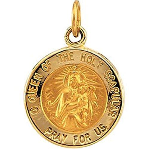 14K Yellow Gold Scapular Medal (Yellow Gold Medal Scapular 14k)