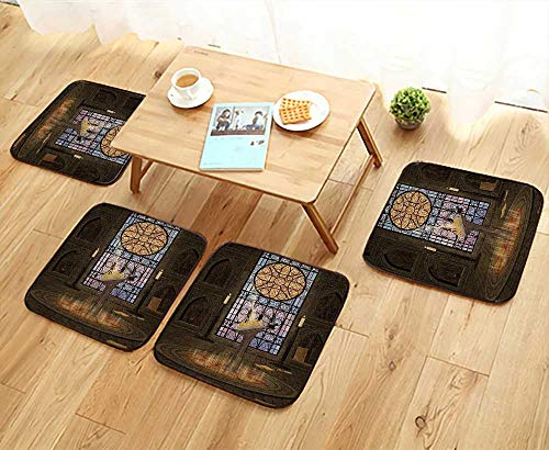 Printsonne Simple Modern Chair Cushions Lectern Pentagram Symbol Medieval Architecture Candlelight in Dark Spell Reusable Water wash W27.5 x L27.5/4PCS Set ()