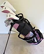 """Womens Petite Complete Golf Set - Custom Made Clubs for Ladies 5'0""""-5'5"""" Tall Taylor Fit Driver, Wood, Hybrid, Irons, Putter, Bag Beautiful Cotton Candy Color"""