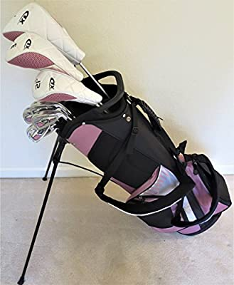 "Womens Petite Complete Golf Set - Custom Made Clubs for Ladies 5'0""-5'5"" Tall Taylor Fit Driver, Wood, Hybrid, Irons, Putter, Bag Beautiful Cotton Candy Color"