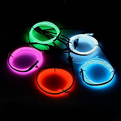 ASOCEA 5 X 1 Metre Five Colors Neon Light El Wire with Battery Pack for Christmas Party Decoration, White/Blue/Red/Green/Pink