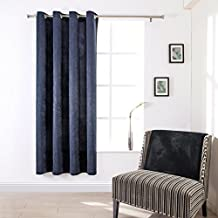 SUO AI TEXTILE Suede Treatment Room Darkening Thermal Insulated Grommet Window Curtains One Panel (54x84,NAVY)