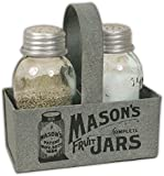 """CTW Home Collection Salt & Pepper Shakers with Metal """"Mason Jar"""" Caddy"""