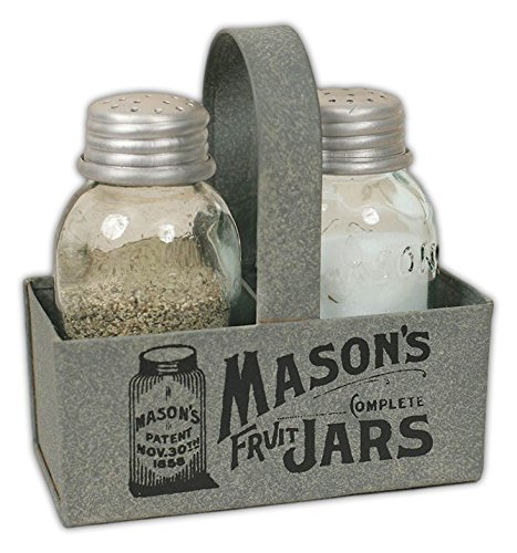 (CTW Home Collection Salt & Pepper Shakers with Metal Mason Jar Caddy)