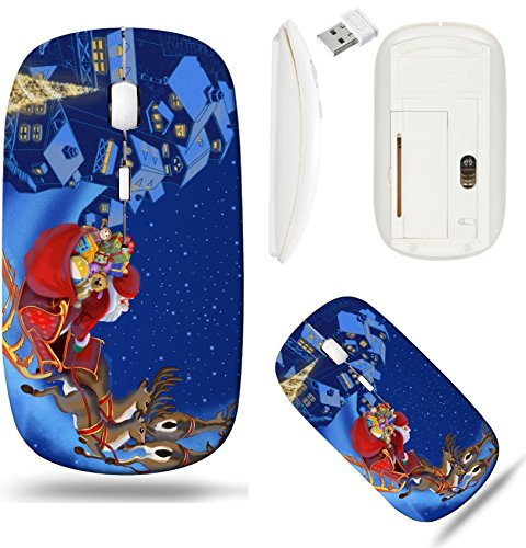 (Liili Wireless Mouse White Base Travel 2.4G Wireless Mice with USB Receiver, Click with 1000 DPI for notebook, pc, laptop, computer, mac book IMAGE ID: 11397696 Christmas illustration of Santa Claus)