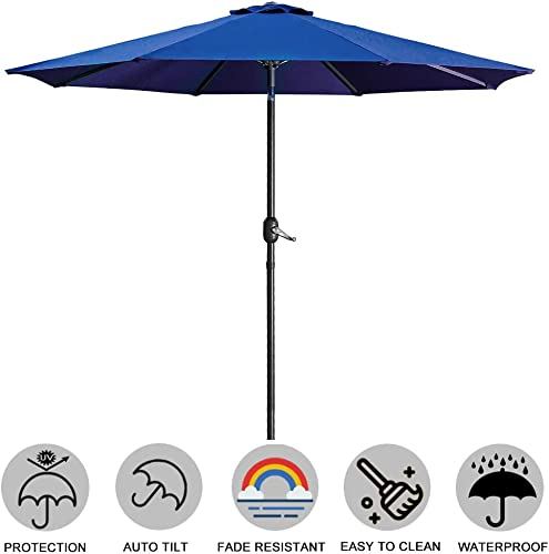 USspous Upscale Patio Umbrella for Garden, Pool, Deck, Backyard Umbrella with Ribs Crank System and Tilt Adjustment, Shade Weatherproof Cover, Blue Color -9FT