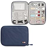 Cord Organizer Case, BUBM Universal Electronics Storage Bag with Shape Maintaining Piping Frame (1 Layer, Navy)