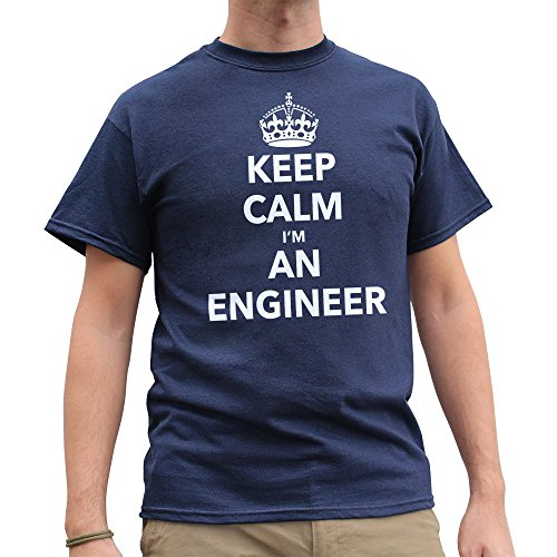 Nutees Men's Keep Calm I'm An Engineer Proffession Funny T Shirt Navy Blue - Store Apparel Fedex