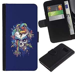 All Phone Most Case / Oferta Especial Cáscara Funda de cuero Monedero Cubierta de proteccion Caso / Wallet Case for Sony Xperia Z3 Compact // Purple Skull Snake Rainbow Colors