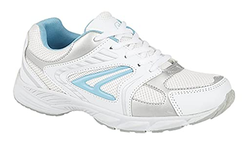Mujer Rosa Blanco Gris Gimnasio Zapatillas Para Correr Talla 3-8 - Blanco/Azul