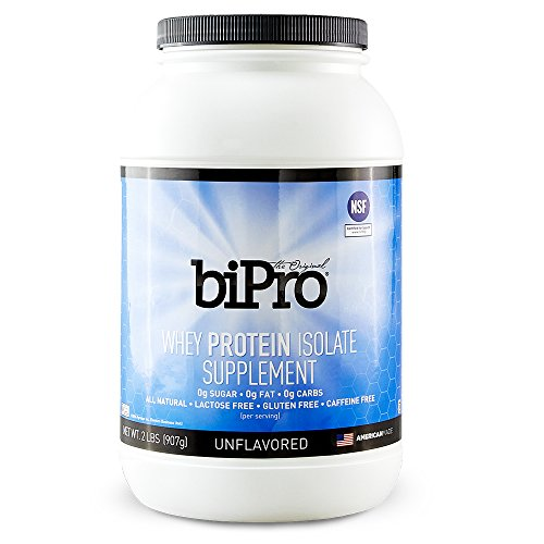 BiPro 100% Whey Protein Isolate, 2lb, Unflavored, All Natural, Sugar-Free, Lactose-free, Gluten-free, 80 calories