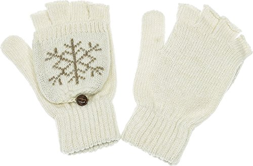 Womens Snowflake Convertible Gloves - Hand By Hand Aprileo Women's Snowflake Convertible Gloves Fingerless Flip Cover [04 Ivory](One Size)