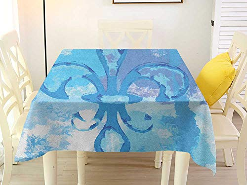 (L'sWOW Square Tablecloth Quilted Fleur De Lis Illustration of Lily Flower Like Frozen Heredic Nobility Emblem Queenly Style Print Blue Plaid 70 x 70 Inch)