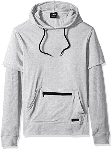WT02 Men's Hooded Pull Over Hoodie With Layered Thermal Sleeve and Zipper Details