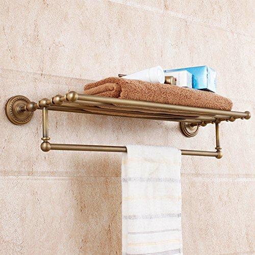 Ollypulse Solid Brass Wall Mount Bathroom Bath Accessory Towel Shelf Rack, Antique Brass Finish