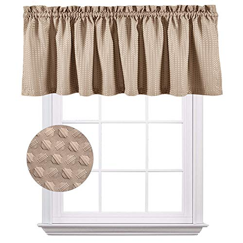 Valance for Kitchen Window Taupe 18 inch Waffle Weave Textured Bedroom Living Room Waterproof Drapery Curtain Panel