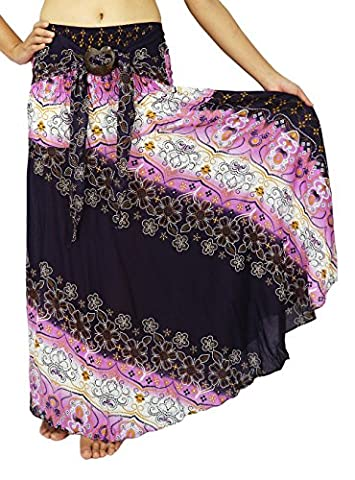 Lek Boutique Women's Long Bohemian Hippie Multi Color Skirts US Size 0-14 (ACC Purple) (Hippie Acc)