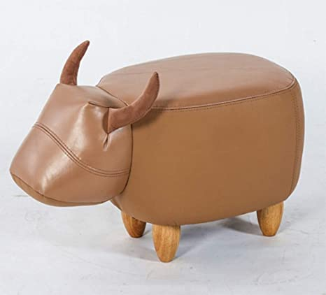 Cool Amazon Com Little Cow Shaped Leather Round Ottoman Nordic Theyellowbook Wood Chair Design Ideas Theyellowbookinfo