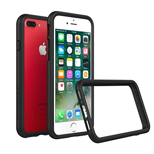 iPhone 8 Plus Case [Also fits iPhone 7 Plus] - RhinoShield [CrashGuard] Bumper [11 Ft Drop Tested] No Bulk [ShockProof Technology] Thin Lightweight Protection - Slim Rugged Cover [Black] (Rhino Bumper)