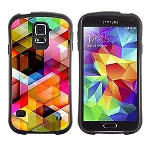 All-Round híbrido de goma duro caso cubierta protectora Accesorio Generación-I BY RAYDREAMMM - Samsung Galaxy S5 SM-G900 - 3D Polygon Pattern Maze Dimensional