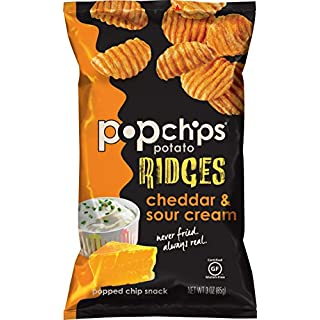 Popchips Ridged Potato Chips, Cheddar & Sour Cream Potato Chips, 7 Count (3 oz Bags), Gluten Free, Low Fat, No Artificial Flavoring, Kosher