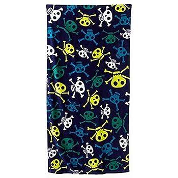 Jumping Beans Blue & Green Skulls Plush Cotton Velour Beach Towel 30x60