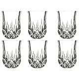 Le'raze Posh Crystal Collection Shot Glass Perfect for serving Scotch, Whiskey, Tequila, or Vodka (Set of 6 - 2 Oz Drink Shot Tumblers/Cups/Glencairn)