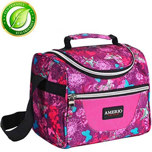 Lunch bag for kids, Insulated Lunch Box for Girls Lunch Tote Bag With Adjustable Shoulder Strap and Front Pocket Perfect for Outdoor School Activities(rose) (Insulated Kids Lunch)