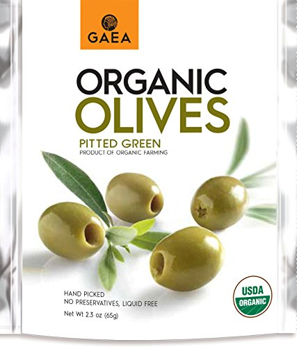 (Gaea Organic Snack Pack Pitted Green Olives with Sea Salt and Lemon Juice - 2.3 oz (Pack of 8))