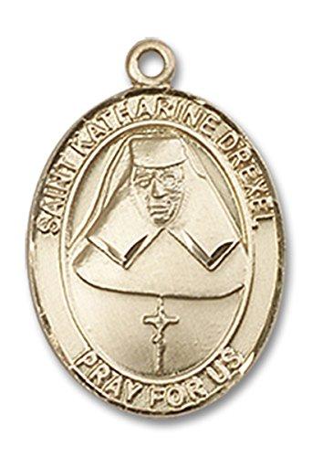 14 Karat Gold Saint Katharine Drexel Medal Charm Pendant, 3/4 - Katharine Pendant Medal Drexel