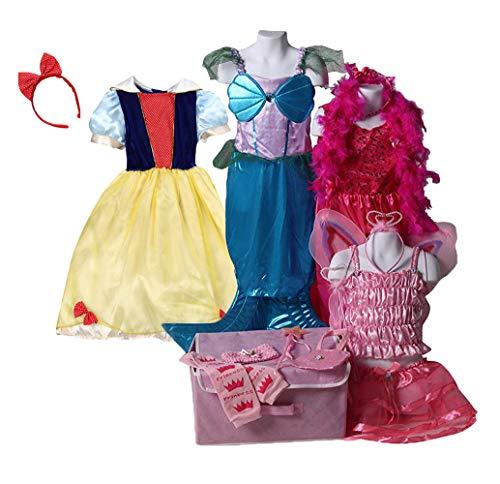 Heart Costume Princess Slippers (Girls Pretty Pink Princess Dress Up Basic Trunk, Snow and Purple/Blue Mermaid Dress size 6/8)