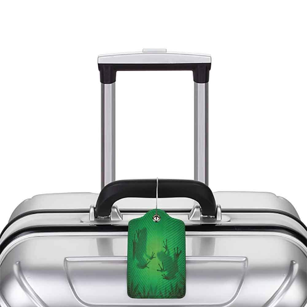 Durable luggage tag Animal Decor Frog Shadow Silhouette on the Banana Tree Leaf in Tropical Lands Jungle Light Games Graphic Unisex Green W2.7 x L4.6