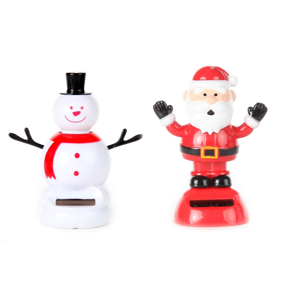 Home-X Solar Dancing Santa and Snowman Toy, Fun, Educational and Eco-Friendly Toy for Kids of All Ages, Compatible with Indoor and Outdoor Lighting