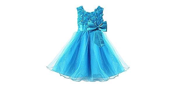 Tunue Yontree vestido de fiesta ceremonia de boda bautismo para bebé, diseño de plantas con pedrería talla infantil azul 120 cm: Amazon.es: Ropa y ...
